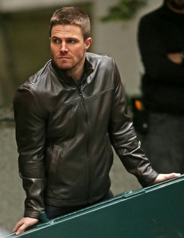 Stephen Amell Brown leather Jacket