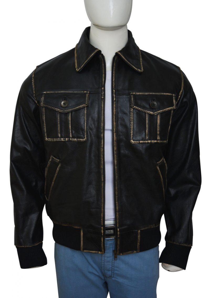 Stunning Bomber Style Men Black Leather Jacket