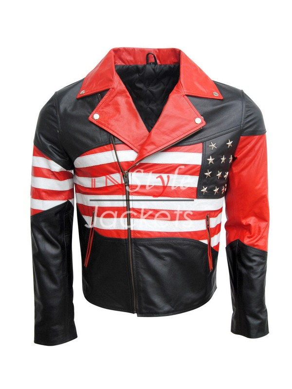 USA Flag Design Motorcycle Jacket