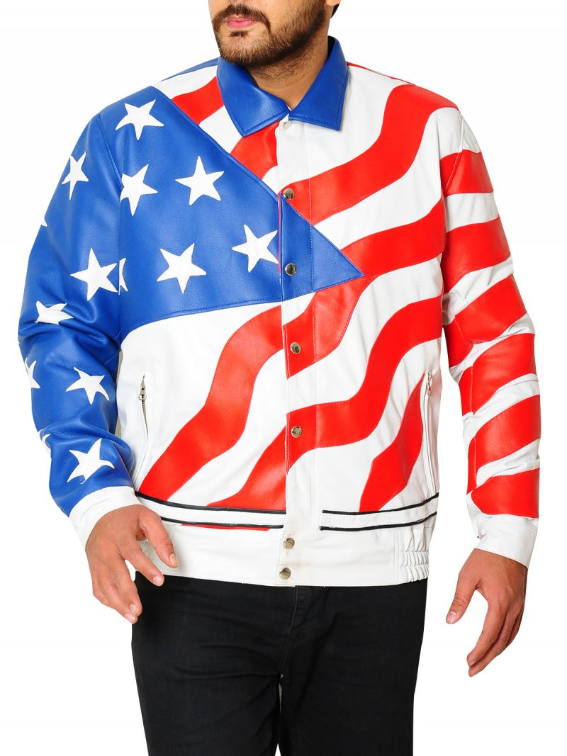 Vanilla Ice Rapper American Flag Leather Jacket
