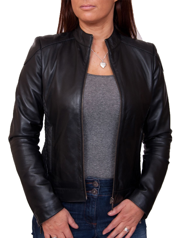 Womens Black Classically Chic Leather Jacket