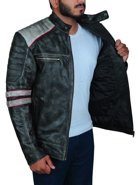 Cafe Racer Biker Leather Jacket