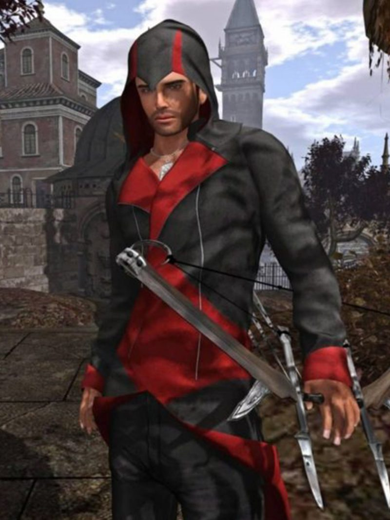 Connor Kenway Assassinas Creed Red & Black Leather Coat