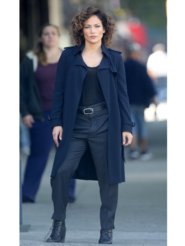 Jennifer Lopez Shades of Blue Cotton Coat