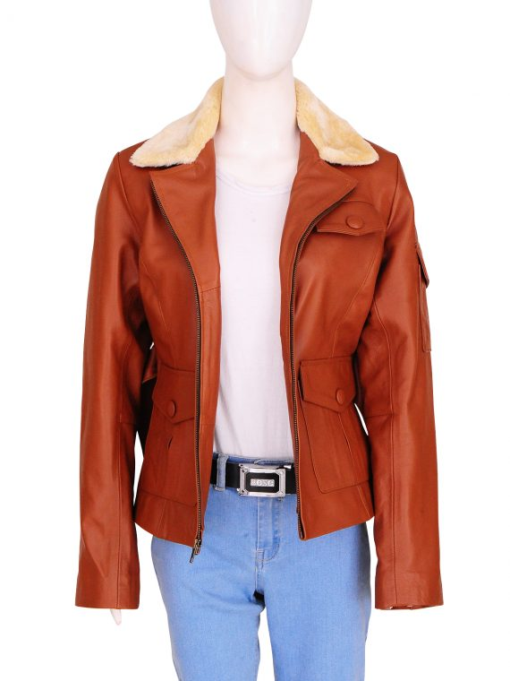 Family Film Night At The Museum 2 Amelia Earhart Fur Collar Jacket