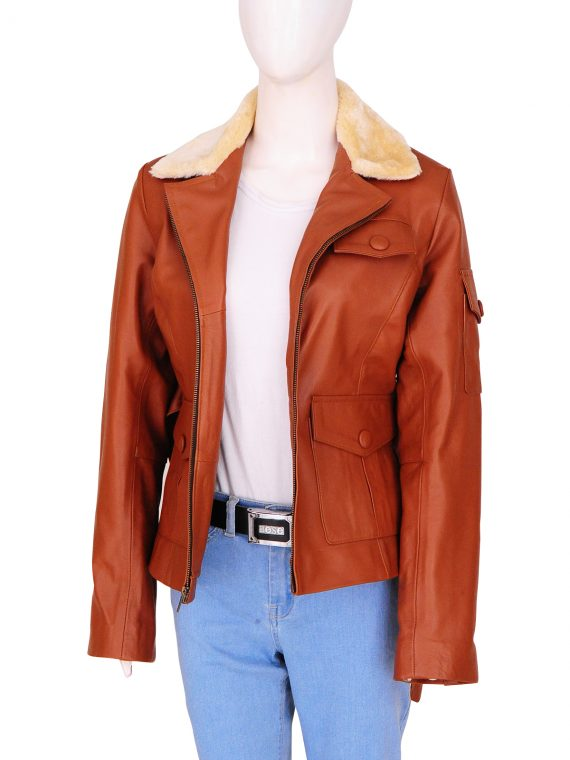 New Movie Night At The Museum 2 Amelia Earhart Fur Collar Jacket