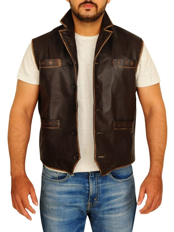 Anson Mount TV Series Hell On Wheels Brown Leather Vest