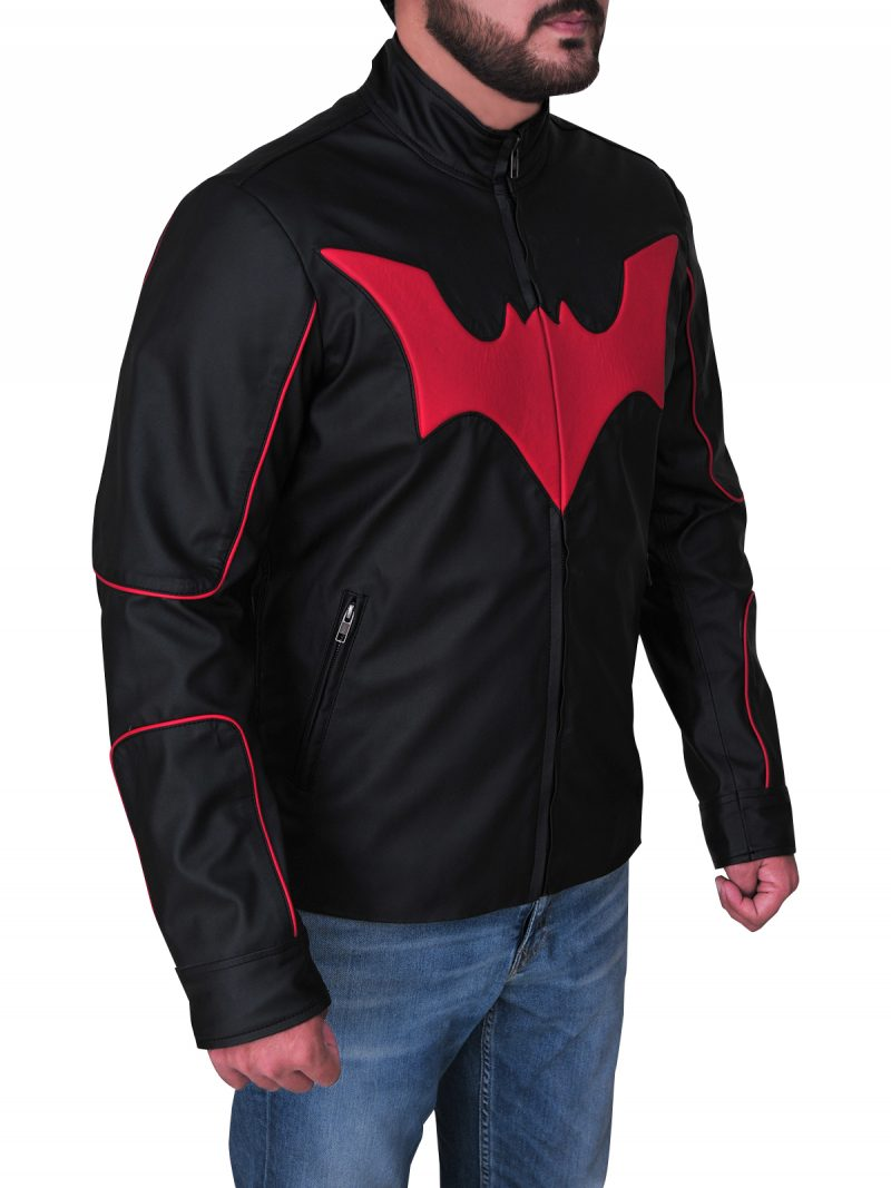 Terry Mcginnis Red Logo Batman Beyond Black Leather Jacket