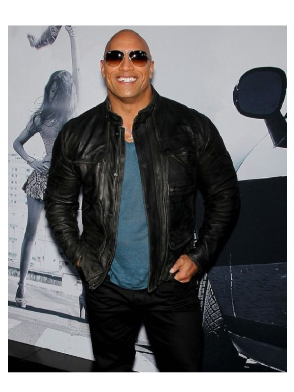 Dwayne Johnson The Fate of Furious Premiere Leather Jacket