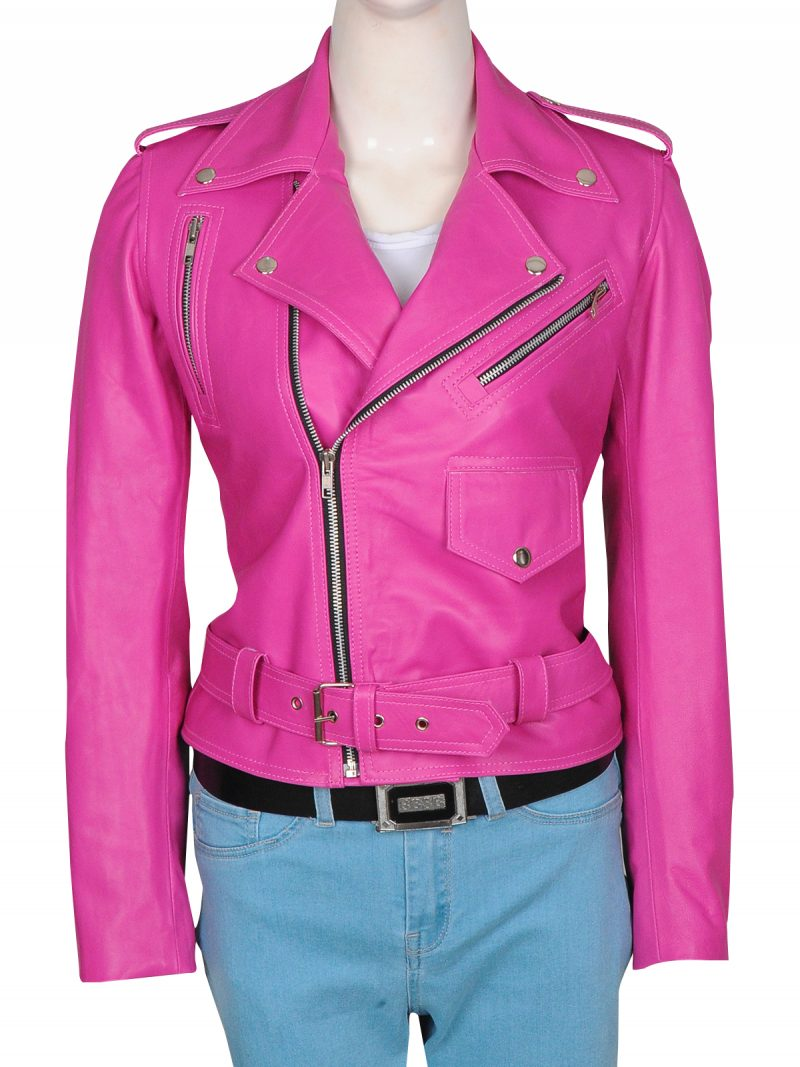 Hot Pink Jessica Alba Stylish Leather Jacket