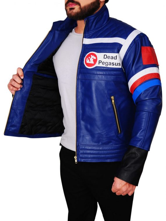 MCR Band Party Poison Song Blue Leather Jacket,