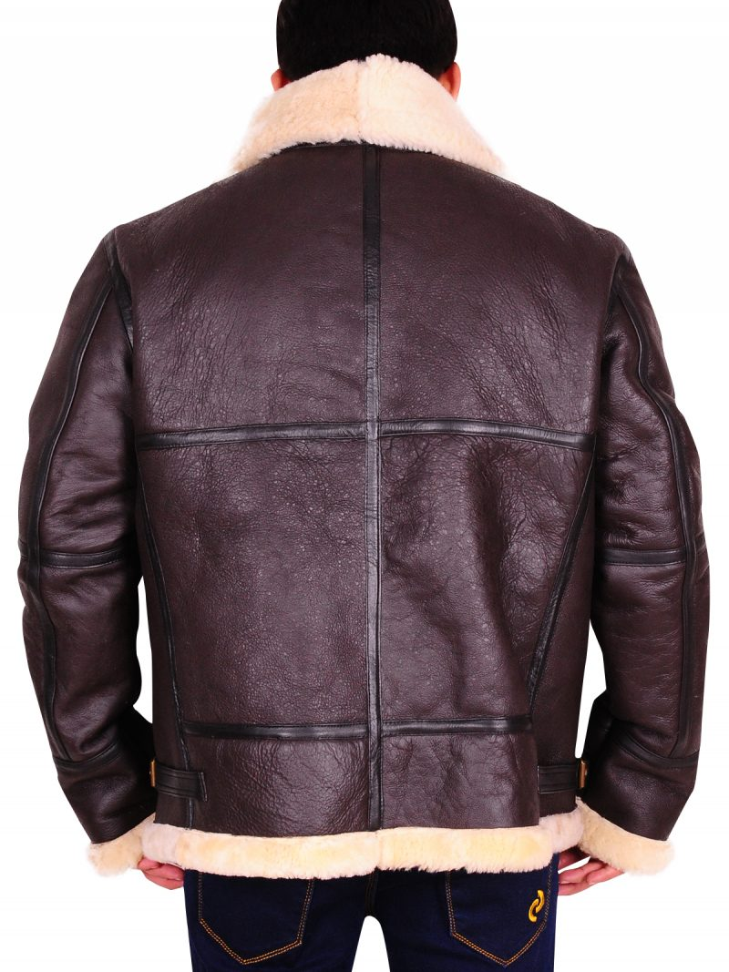Men B3 Flying Aviator Sheepskin Brown Leather Jacket