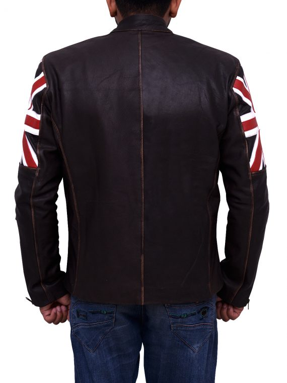 Men Uk Flag Motorcycle Leather Jacket