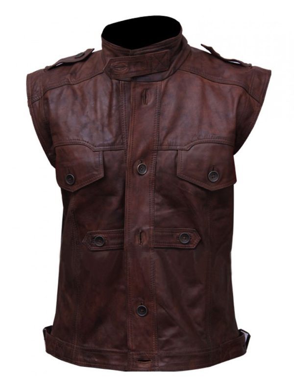 Mens Motorcycle Brown Vest