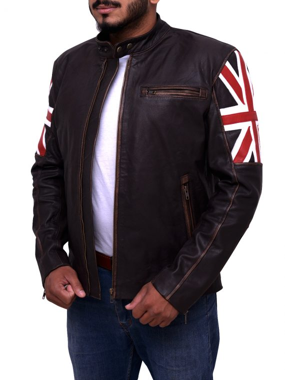 Mens Uk Flag Leather Jacket