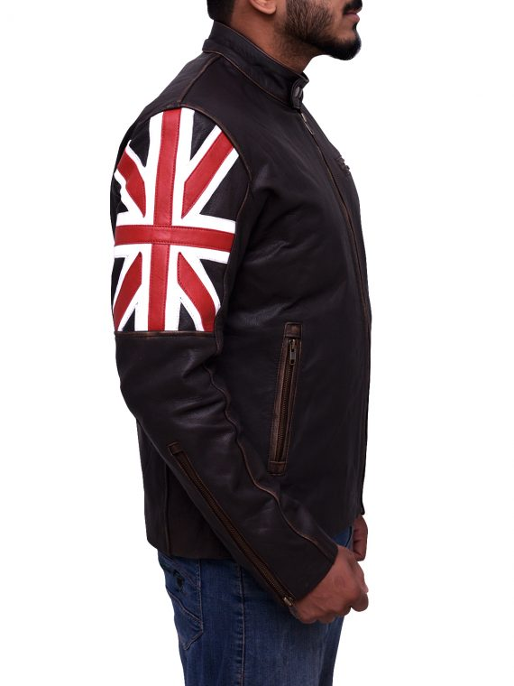 Mens Uk Flag Vintage Biker Jacket