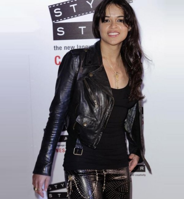 Cannes Event Michelle Rodriguez Leather Jacket