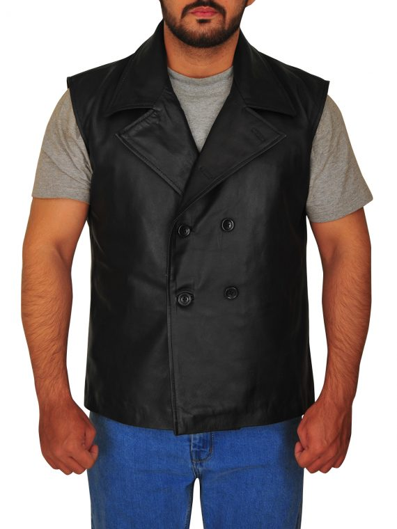 Spiderman Macho Noir Black Leather Vest,