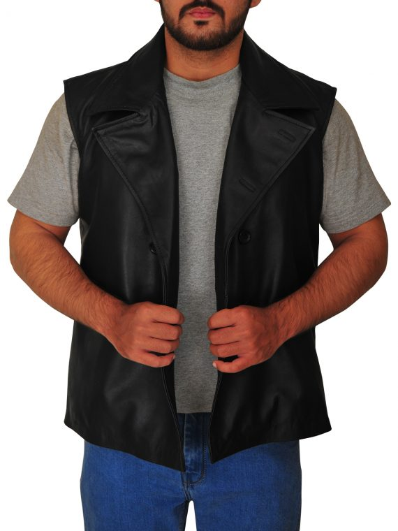 Spiderman Noir Black Leather Vest,