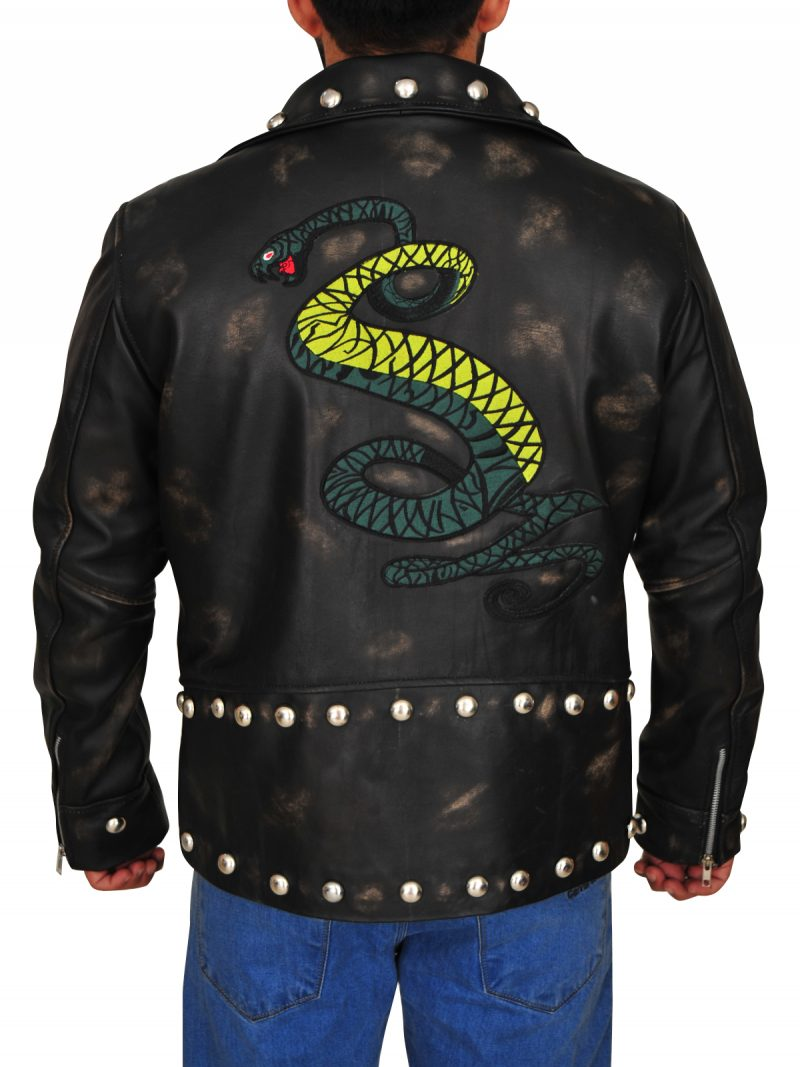 Tunnel Snakes Fallout 4 Distressed Black Leather Jacket,