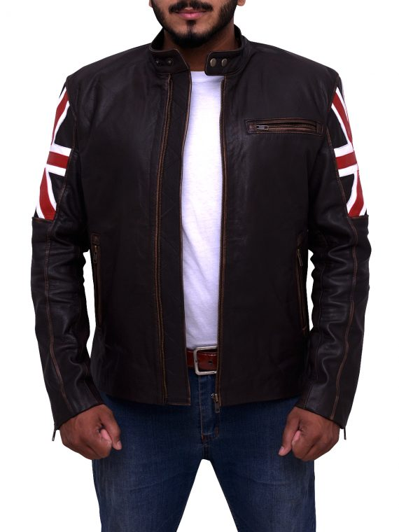 Uk Flag Biker Leather Jacket