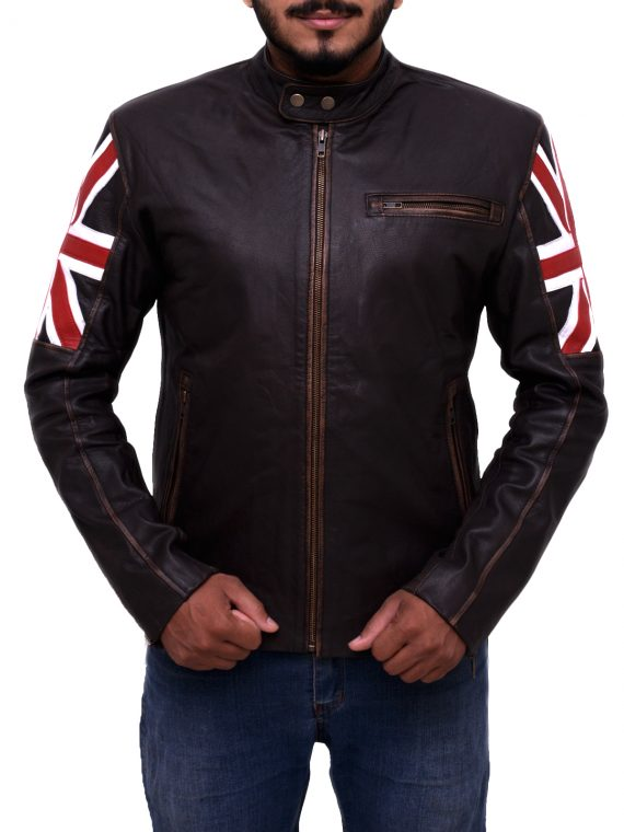 Uk Flag Vintage Motorcycle Jacket