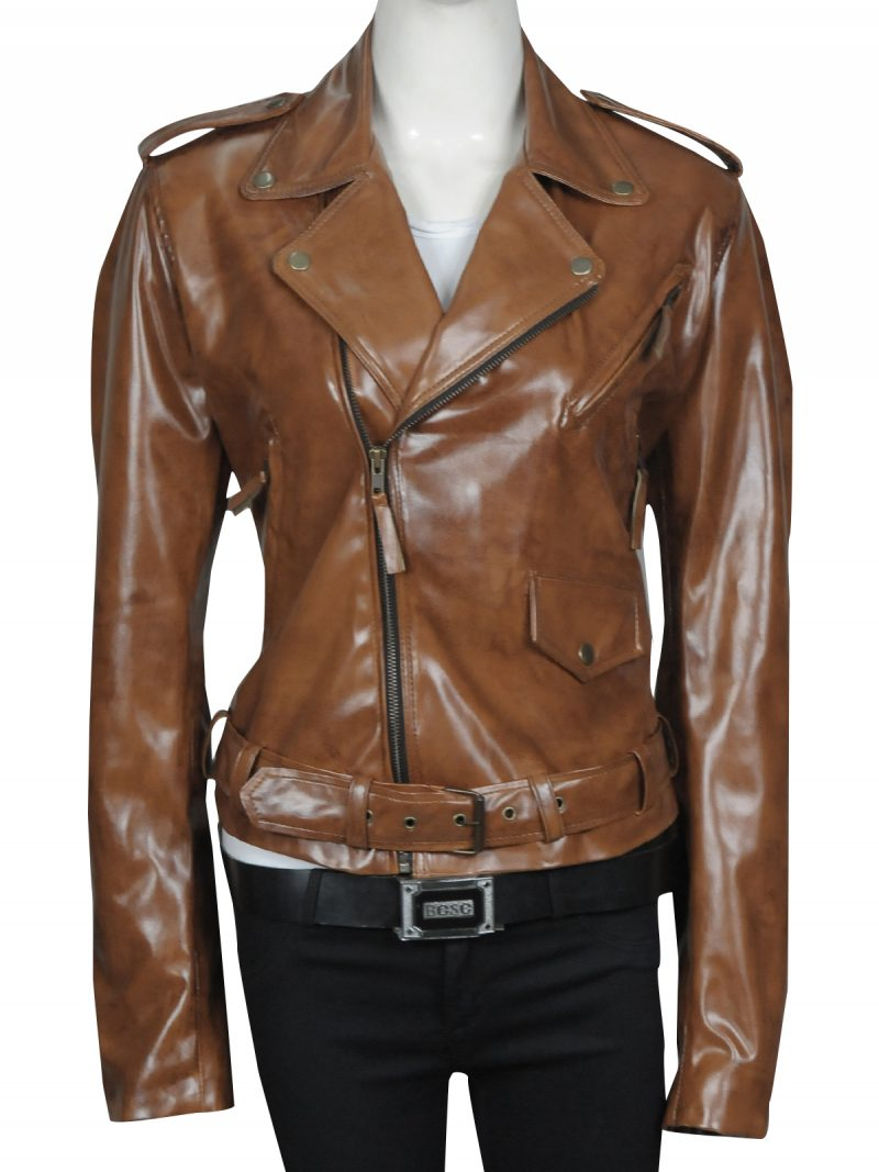 Kim-Kardashian-Brown-Leather-Jacket,
