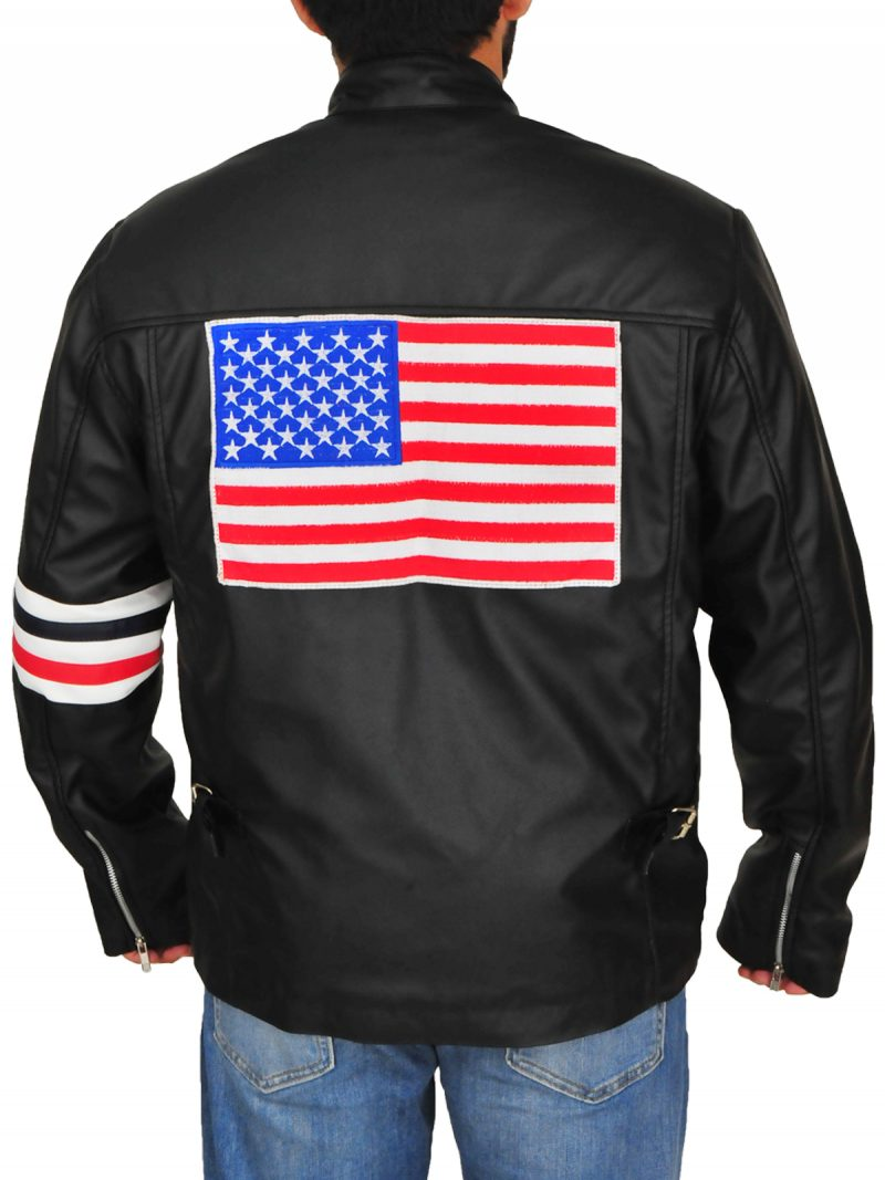 Easy Rider Peter Fonda Flag Leather Jacket