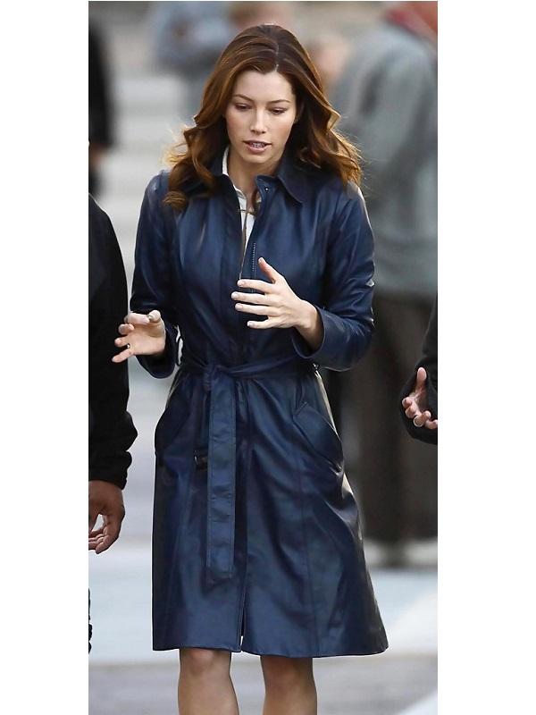 Jessica Biel The A Team Charissa Sosa Leather Coat