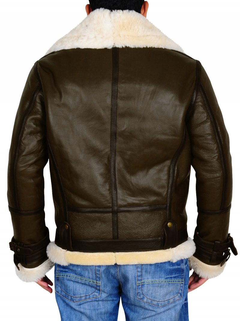 Men Aviator Shearling Sheepskin Flying Leather Jacket