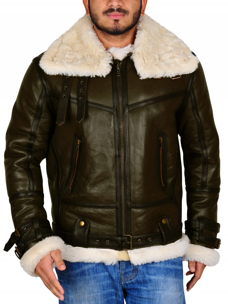 Men Aviator Sheepskin Bomber Flying Leather Jacket