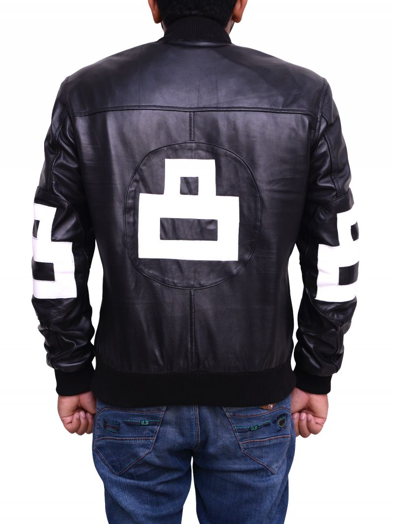 Men 8 Ball Black Leather Jacket