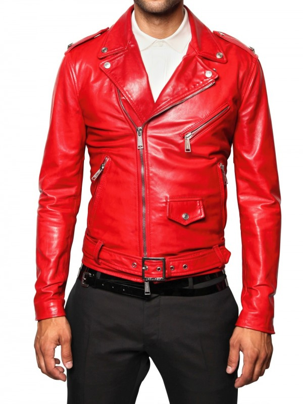 Men Motorcycle Red Leather Jacket