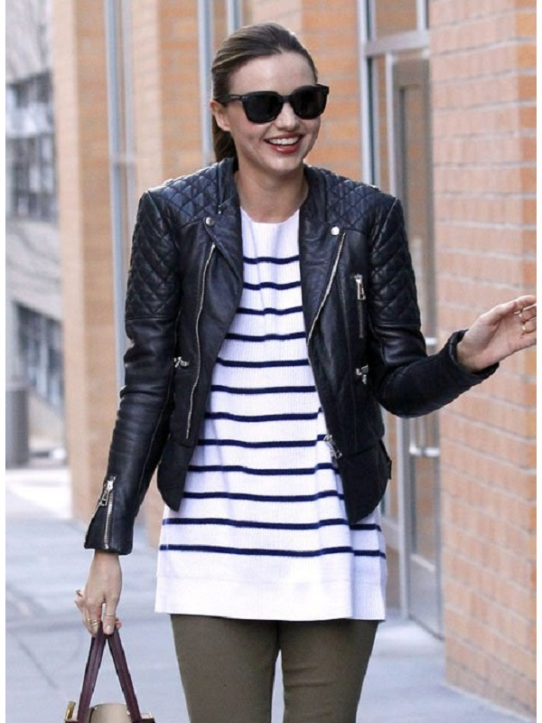 Miranda Kerr Balenciaga Quilted Leather Jacket