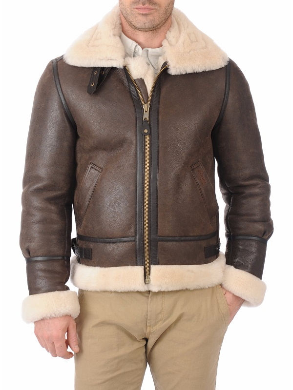 Men's Bomber Brown Leather Jacket