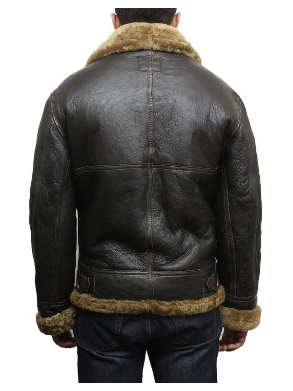Men Aviator B3 Shearling Sheepskin Flying Jacket