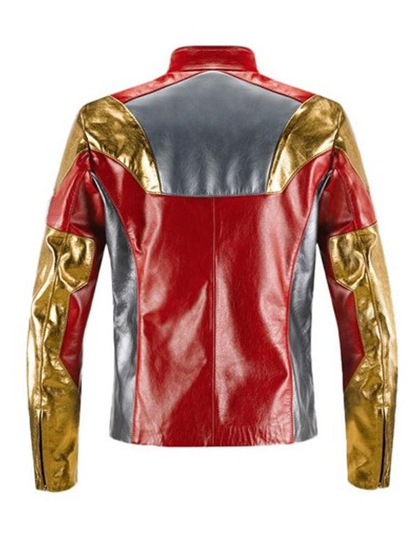 Tony Stark Avengers Age Of Ultron Iron Man Red Leather Jacket