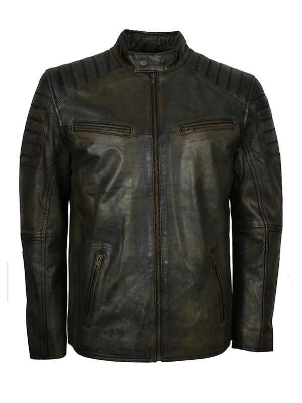 Men Motorcycle Quilted Shoulder Brown Jacket