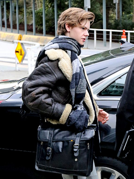 Thomas Brodie Sangster Shearling Bomber Leather Jacket