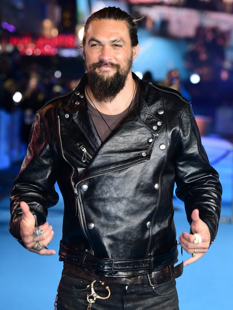 Aquaman Jason Momoa Black Leather Jacket,