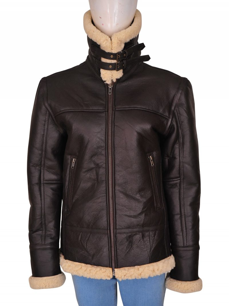 Ladies Bomber Aviator Shearling Leather Jacket,