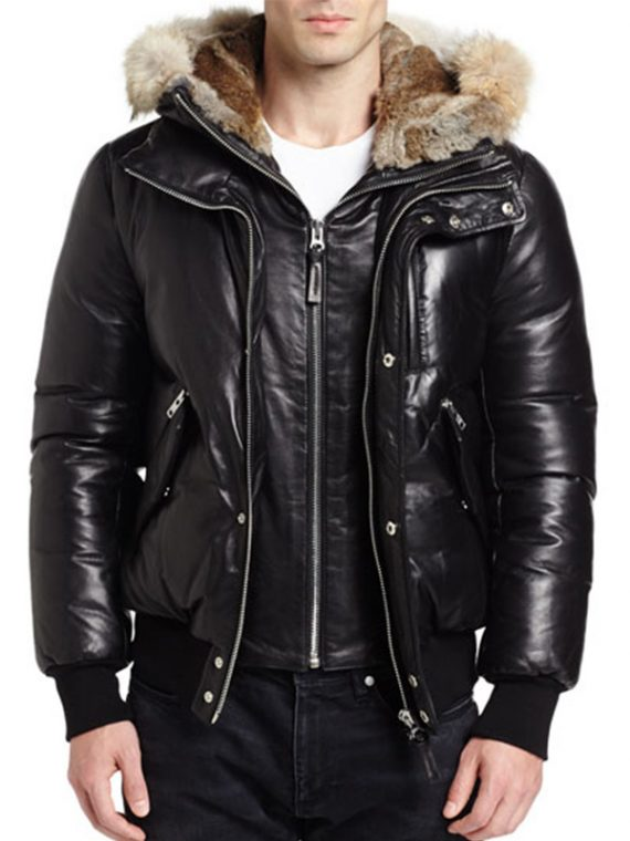 Men Genuine Leather Hooded Fur Jacket