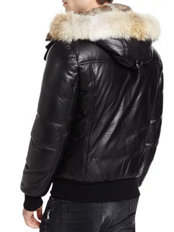 Men Hooded Fur Black Jacket