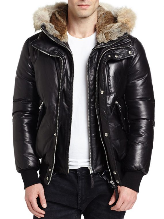 Men Real Hooded Fur Black Jacket