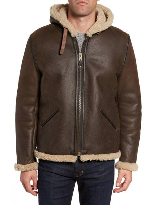 Men Shearling Hooded Genuine Jacket