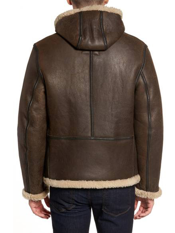 Men Shearling Vintage B 6 Hooded Leath
