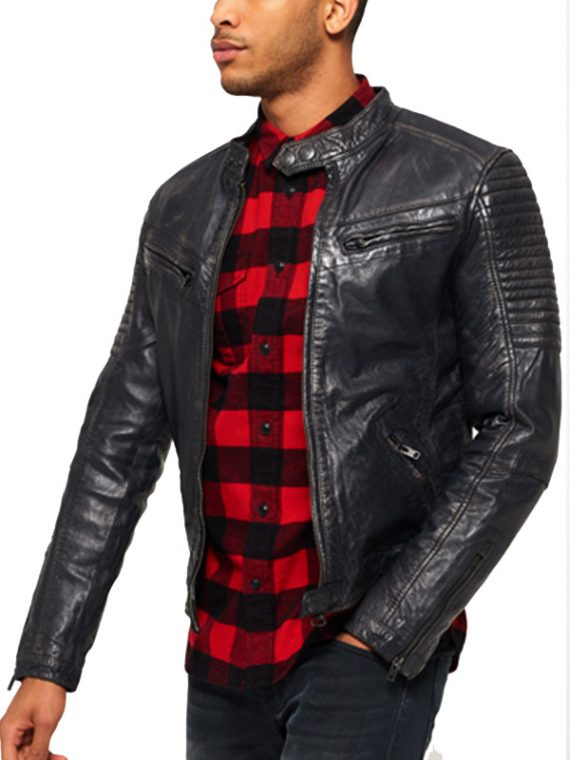 Men Super Circuit Biker Leather Jacket