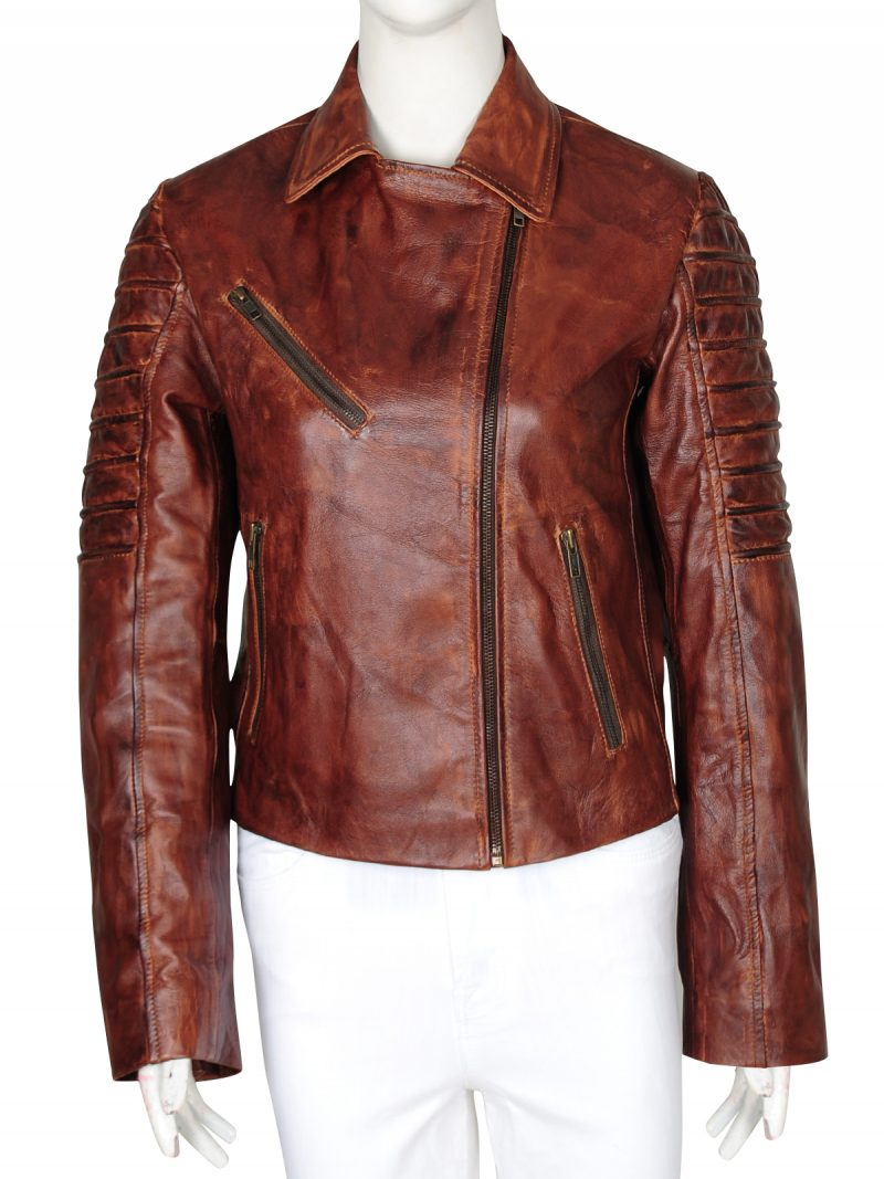 New Woman Slim Fit Brown Real Leather Jacket