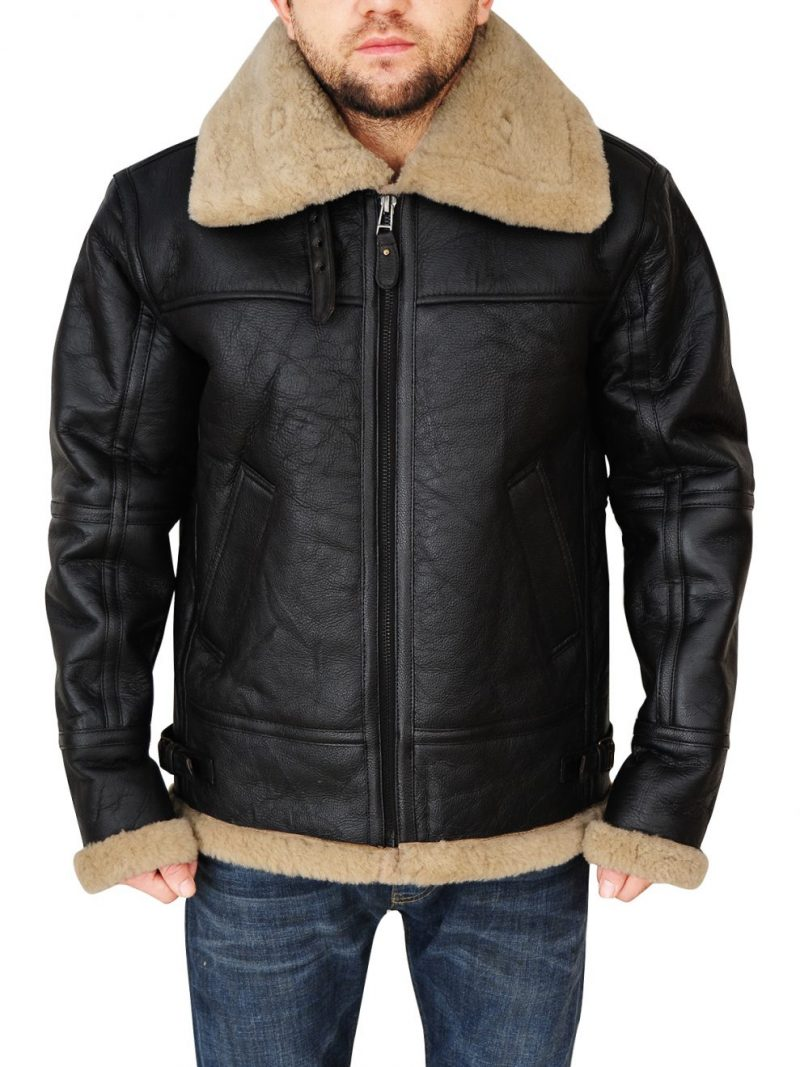 Men Bomber B3 Black Leather Jacket,