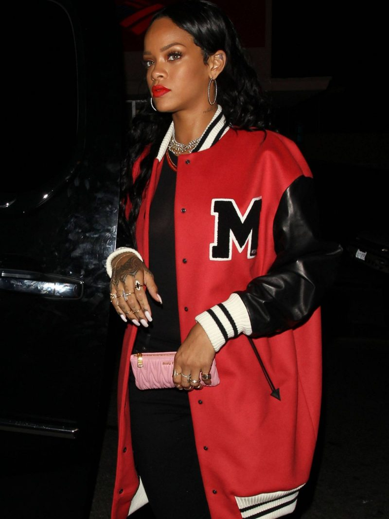 Rihanna at Los Angeles Varsity Coat,